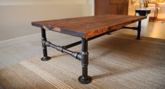 Rustic Industrial Pipe & OAK Wood Coffee Table metal pipe legged Furniture