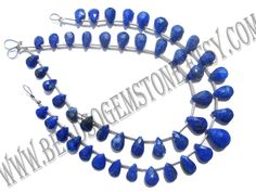 Lapis Lazuli Faceted Pear (Quality AA+) (3Strands) / 5x7 to 6.5x10 mm / 3 to 5 Grms / 18 cm / LA-077 by GemstoneWholesaler on Etsy