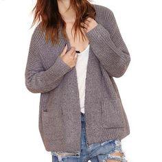 Solid Gray Knitting Cardigan Pockets Long Sleeve Sweater LAVELIQ