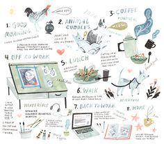 For Flow Magazine's first issue of 2016 (which just came out), I was  invited to illustrate what my typical day looks like.If you work for  yourself, then you know the levels of routine which are available to you -  they range from having zero routine - to having every hour meticulously  planne