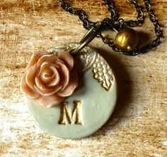 Custom Letter Necklace - Shabby Chic - Romantic - Antique-Vintage- Champagne and Gold