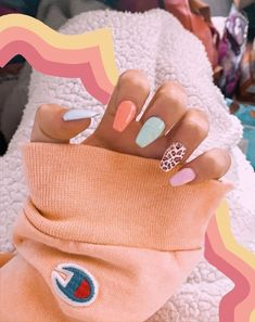 Acrylic Nails Coffin Short, Simple Acrylic Nails, Best Acrylic Nails, Colourful Acrylic Nails, Coffin Acrylics, Square Acrylic Nails, Simple Nails, Coffin Nails, Nagellack Design