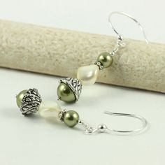 Cream Pearl Earrings Sage Green Bridal Collection Romantic Pearl Cream, Bridesmaid Jewelry, Bridal Collection, Favorite Color, Sage, Jewlery, Pearl Earrings, Beaded Bracelets, Romantic
