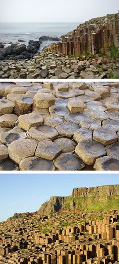 The Giant's Causeway in Ireland was created 55 million years ago when volcanic lava dried quickly producing todays basalt columns.