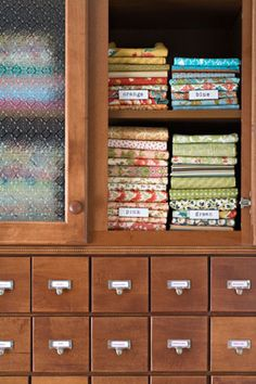 Organize and label fabric by color so you can easily find what you're looking for.