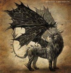 La mantícora es un ser monstruoso con cuerpo de león, alas de murciélago y cabeza humana. Es un ser carnívoro, y tiene preferencia por la carne humana