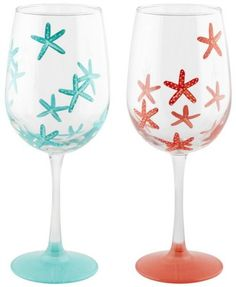 Color painted wine glasses with a coastal beach theme: http://www.completely-coastal.com/2016/05/coastal-nautical-drinking-glasses.html Turquoise and red coral wine glasses. #paintedwineglasses