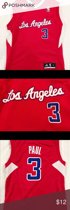 ADIDAS Los Angeles Clippers Paul Jersey youth s ADIDAS Los Angeles Clippers Chris Paul Jersey Number 3 Youth Small Red NBA AA adidas Shirts & Tops Tank Tops