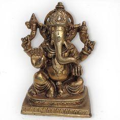 Fat Ganesha Sculpture Handmade Brass Hindu God Statues from India
