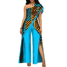 African Top-Pant Set For Women Sexy Off Shoulder Jumpsuit Dashiki Clothing BatikItem Type: Africa ClothingSpecial Use: Traditional ClothingGender: WomenMaterial: CottonType: Kanga ClothingGender: WomanSpecial use: Traditional clothingItem type: Afric African Fashion Ankara, African Traditional Dresses, Latest African Fashion Dresses, African Print Dresses, African Dresses For Women, African Print Fashion, Africa Fashion, African Wear, African Attire