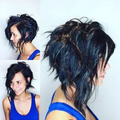 This Edgy Angled Asymmetric Razor Cut Bob with Wavy Texture and Black Color is a great cut for someone seeking versatility. This angled shoulder length bob can be styled sleek and straight, with textured waves or curls, or with a simple blowout for body a Medium Hair Cuts, Medium Hair Styles, Medium Curls, Wavy Curls, Curls Hair, Hair Cuts Edgy, Medium Waves, Damp Hair Styles, Curly Hair Styles
