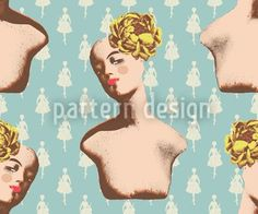 Fifties Mannequin Design. Vintage pattern designed by Alexandra Bolzer    High-quality Vector Pattern from patterndesigns.com