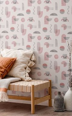 Our Parallel Pink wallpaper is packed with a playful mixture of interior design trends we love. This pink and gray pattern is made up of scattered geometrics, including satisfying semi-circles, arches, and squiggles. The shapes are all hand-painted in a soft wash of watercolor tones, too, which adds tons of detail and texture to the wallpaper.