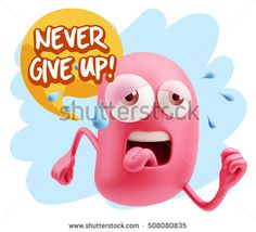 3d Illustration GYM Fitness Character Emoticon Expression saying Never give up with Colorful Speech Bubble.