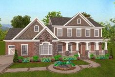 Outdoor Living Front and Back - 20071GA | 1st Floor Master Suite, Bonus Room, CAD Available, Corner Lot, Country, Craftsman, Den-Office-Library-Study, Northwest, PDF | Architectural Designs