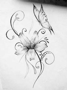 zeichnung - Tattoos - - My best tattoo list Butterfly With Flowers Tattoo, Lily Flower Tattoos, Butterfly Tattoo On Shoulder, Butterfly Drawing, Butterfly Tattoo Designs, Feather Tattoos, Butterflies, Shoulder Tattoos, Lilly Tattoo Design