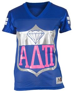 "Alpha Delta Pi Football Jersey Adam Block Design - Use code ""fsuKL1001"" for 10% off your first order and 5% off every order after!"
