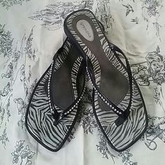 Rhinestone Flip Flops Grendha flip flops with leather and rhinestone straps. Too cute! Shoes Sandals