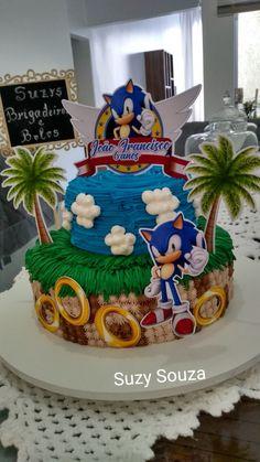 Bolo Sonic, Sonic Cake, Pokemon Birthday Cake, 8th Birthday Cake, Sonic Birthday Parties, Sonic Party, Sonic The Hedgehog Cake, Hedgehog Birthday, Super Mario Party