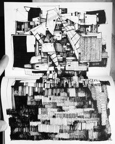 KH Module Architecture, Architecture Sketchbook, Graphic Design Illustration, Illustration Art, Deconstructivism, Museum Poster, Building Drawing, A Level Art, Sketchbook Inspiration