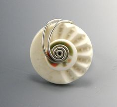 Wire Button Ring Wrapped Button Ring White Scalloped. $20.00, via Etsy.