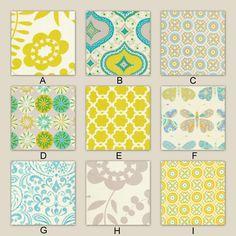 Kumari Garden in Aqua Blue, Moss Yellow and Gray - Custom Crib Baby Bedding YOU DESIGN. $238.00, via Etsy.