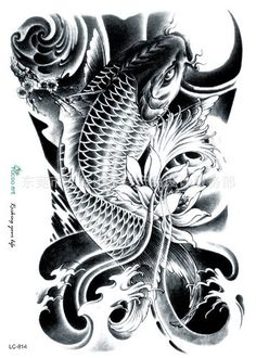 Koi Tattoo/temporary tattoo flash tattoo fake by FlashTattoosLA Koi Dragon Tattoo, Pez Koi Tattoo, Carp Tattoo, Dragon Koi Tattoo Design, Tatto Koi, Dragon Tattoos, Neue Tattoos, Bild Tattoos, Body Art Tattoos