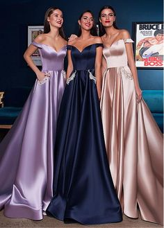 Custom Made V Neck Floor Length Long Prom Dresses, V Neck Graduation Dresses, Formal Dresses, Long Evening Dresses Elegant Dresses, Satin Dresses, Strapless Dress Formal, Beautiful Dresses, Pretty Dresses, Unique Formal Dresses, Satin Gown, Formal Gowns, Prom Dresses With Pockets