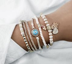Wintefei Fashion Evil Eye Beads Pendant Anklet Multi-Layer Bracelet Women Beach Jewelry Lady Beach Party Decor
