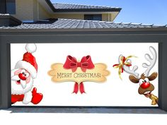 merry christmas garage door covers 3d banners holiday sante claus and deer decorations outdoor billboard murals