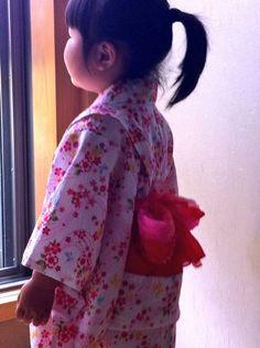 #Yukata for girl 子どもの浴衣。リップルの生地をミシン縫いで仕立ててあります。
