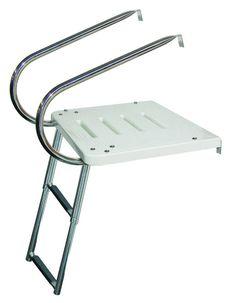 JIF - EKT ~ I/O TRANSOM PLATFORM W/2 ARMS SS 2-STEP TELESCOPING [EKT] - $147.20 : Boat Ladders - Pontoon Boat Ladder - Dock Ladders for Less, Boat-Ladders-Store.com