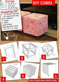 DIY Furniture How to build a simple upholstered ottoman cube for less than 20. Pick your own fabric, make your own color!