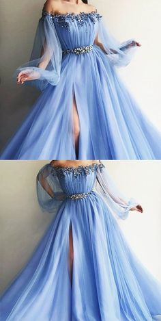 Elegant blue long sleeves off the shoulder beaded crystal side slit prom dresses. - elegant blue long sleeves off the shoulder beaded crystal side slit prom dresses okc Pretty Prom Dresses, Blue Evening Dresses, Prom Dresses With Sleeves, Ball Dresses, Elegant Dresses, Homecoming Dresses, Beautiful Dresses, Dress Prom, Prom Gowns