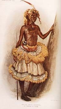 Ngongo man, one of the Kuba sub-groups, wearing a raffia cloth skirt