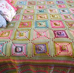 Minty green floral squares Amazing !!!!