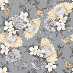 Gift your home with a traditional blooming garden design. BOTANICAL Pale Yellow is from the Tempaper Elements Collection. This is a floral design of slate blue grey, pale yellow and golden highlights.  Botanical is temporary, removable wallpaper sold as 1 double roll of 20.5 in. x 11 yds. = 56.37 sq. ft.  Botanical repeat is 20.5""