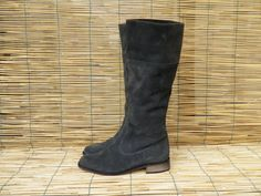 Vintage grey suede flat riding boots