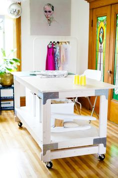 Sewing Desk, Diy Sewing Table, Sewing Machine Tables, Sewing Cabinet, Sewing Rooms, Diy Table, Craft Tables, Sewing Cutting Tables, Craft Desk