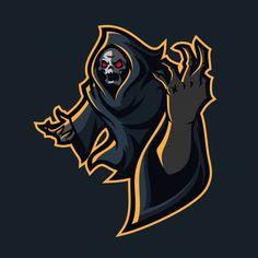 Gim reaper esport Modelo de logotipo do jogo mascote de vetor Premium Team Logo Design, Logo Desing, Logo Lobo, Logo Gamer, Logo Esport, Joker Logo, Logo Free, Viking Helmet, Skull Logo