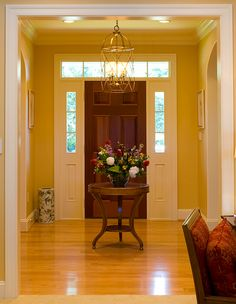 warm yellow home remodel, entryway