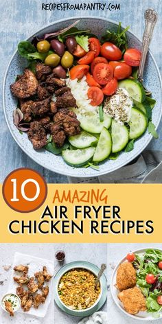 These 10 Air Fryer Chicken recipes are all super quick, easy and healthy! From wings, breasts and thighs to shawarma, fried rice and even a whole chicken, there is something to suit everyone's tastes. Cooking chicken in the air fryer is destined to become Air Fryer Dinner Recipes, Air Fryer Recipes, Lunch Recipes, Appetizer Recipes, Healthy Recipes, Yummy Recipes, Keto Recipes, Weight Watchers Desserts, Beef