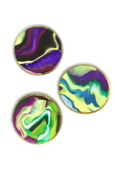 Three Green and Purple Coasters by emitate on Etsy https://www.etsy.com/listing/470656594/three-green-and-purple-coasters