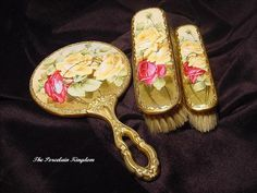 Limoges French gilt dresser set hand mirror & brushes hand painted heirloom roses Victorian Vanity