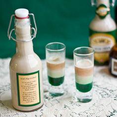 Irish Flag Cocktail   • 1/2 oz Creme de Menthe • 1/2 oz Homemade Irish Cream • 1/2oz Grand Marnier