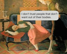 Existentialist Text Messages Juxtaposed on Paintings