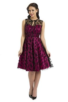 official photos 3f8dc d89c8 Rckabilly Pinup Vintage Pink Dress w  Lace Rose Overlay Dress Buy Online  DamHag Vintage Dresses