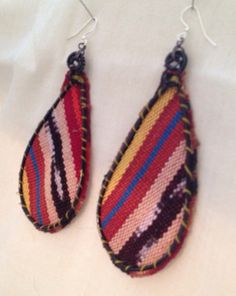 Large, Recycled Guatemalan Textile Teardrop Earrings- MUST HAVE