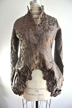 Nataya Steampunk Brown Floral Jacket Formal Victorian Coat S-M Evening Fancy #Nataya #steampunk