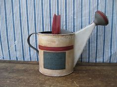 Small Antique Watering Can Red White and Blue Milk Paint Shaker Seed Label.